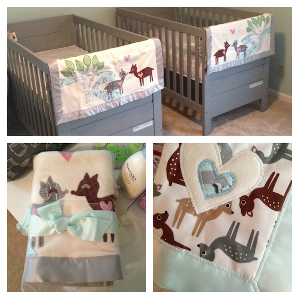 Twins Nursery Cribs with Deer Blankets