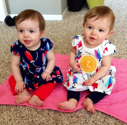 Emma and Kate twin girls 7 months